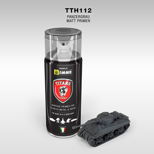 TITANS HOBBY: PANZERGRAU MATT PRIMER (German dark grey) - 400ml Spray for Plastic, Metal & Resin